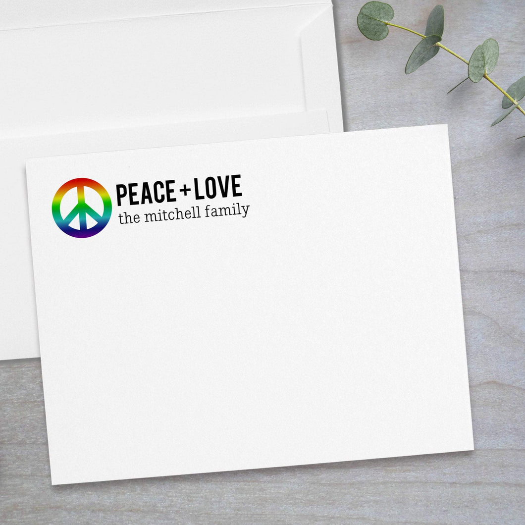 Rainbow Peace Sign - Flat Note Card