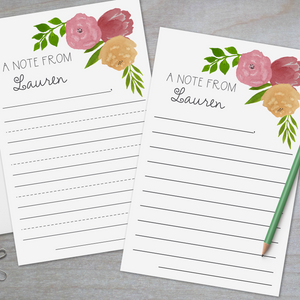 Watercolor Flowers - Lined Stationery Sheets