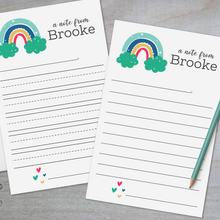 Load image into Gallery viewer, Rainbow and Hearts - Lined Stationery Sheets