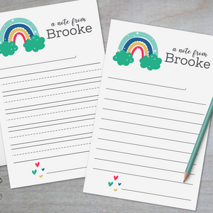 Rainbow and Hearts - Lined Stationery Sheets