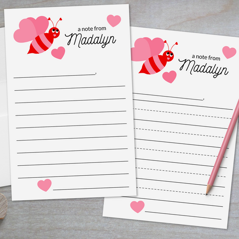 Bee Mine Valentine - Lined Stationery Sheets