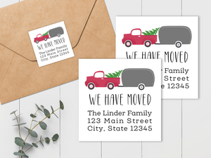 We Have Moved - Vintage Truck and Christmas Tree - Square Address Label