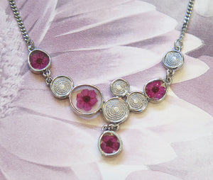 Pink Narcissus Real Flower Silver Plated Necklace