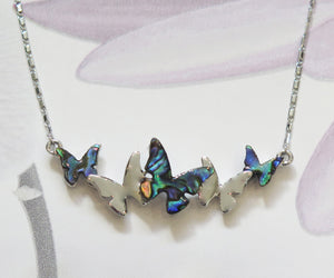Real Paua Butterfly Silver Plated Necklace