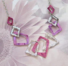 Load image into Gallery viewer, Pink & Purple Abstract Geometric Silver Plated Necklace