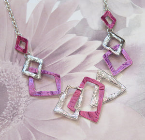 Pink & Purple Abstract Geometric Silver Plated Necklace