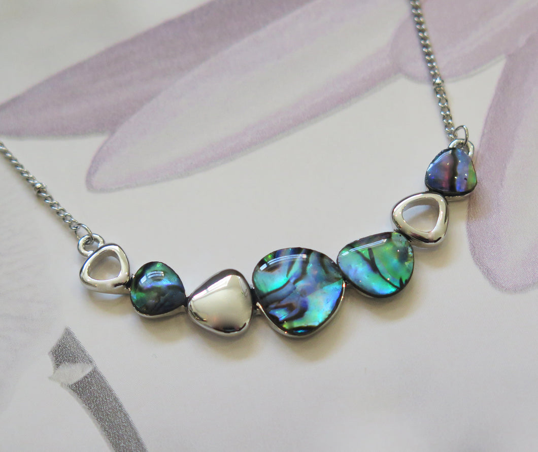 Real Paua Shell Pebble Silver Plated Necklace