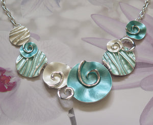Aqua, Mint Green and Silver Beach Seashells Silver Plated Necklace