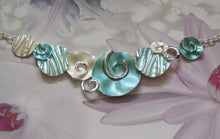 Load image into Gallery viewer, Aqua, Mint Green and Silver Beach Seashells Silver Plated Necklace
