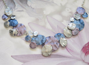 Silver Plated Purple, Blue & Grey Discs Necklace