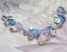 Load image into Gallery viewer, Silver Plated Purple, Blue & Grey Discs Necklace