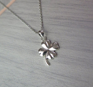 Four Leaf Clover Solid 925 Sterling Silver Pendant Necklace