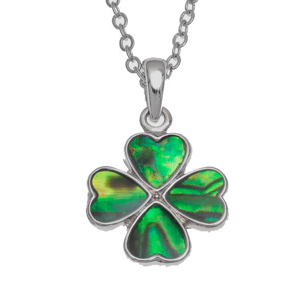 Lucky Genuine Paua Shell Four Leaf Clover Pendant Necklace