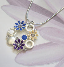 Load image into Gallery viewer, Crystal Flower Silver Plated Pendant Necklace