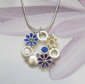 Crystal Flower Silver Plated Pendant Necklace
