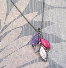Load image into Gallery viewer, Pink, Purple & Silver Leaves Pendant Necklace