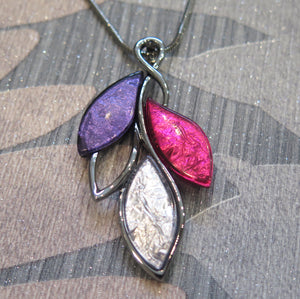 Pink, Purple & Silver Leaves Pendant Necklace