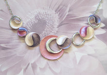 Load image into Gallery viewer, Pink & Purple Crescent Moon Silver Plated Necklace