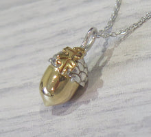 Load image into Gallery viewer, Solid 925 Sterling Silver 24k Gold Plated Lucky Acorn Pendant Necklace