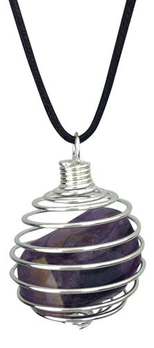 Amethyst Tumble Wire Wrapped Pendant Necklace