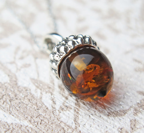 Lucky Sterling Silver Real Genuine Cognac Amber Small Acorn Pendant Necklace