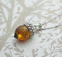 Load image into Gallery viewer, Lucky Sterling Silver Real Genuine Cognac Amber Small Acorn Pendant Necklace