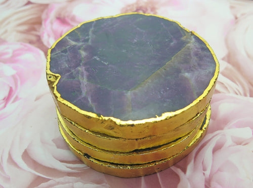 Set of 4 Gold Dipped Amethyst Gemstone Coasters