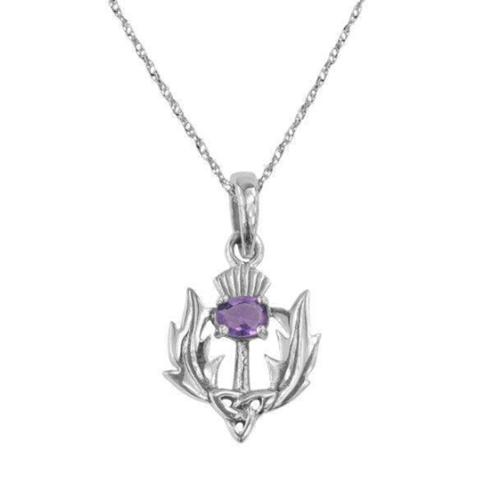 Celtic Scottish Thistle with Amethyst Pendant Necklace