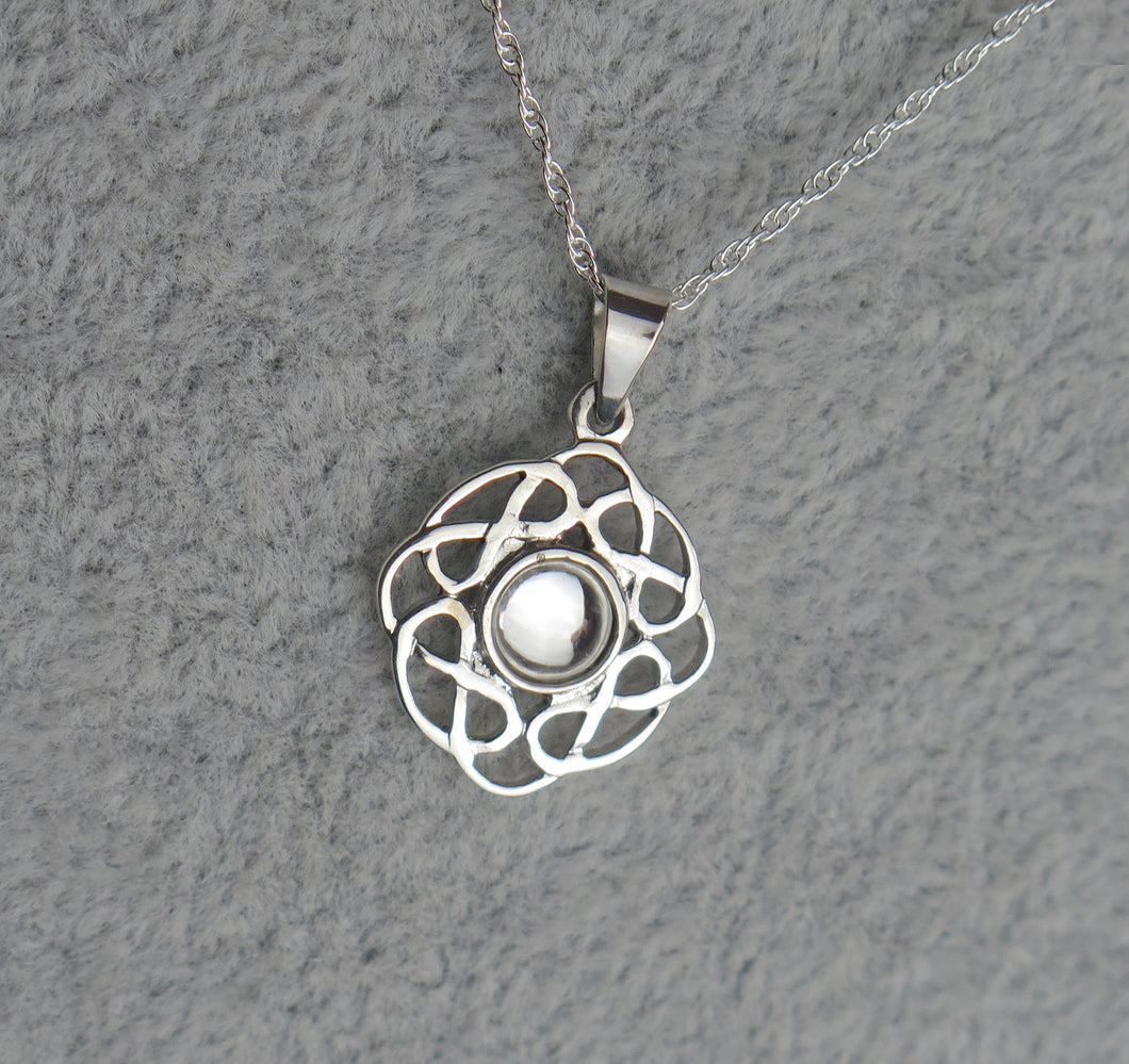 Sterling Silver Celtic Knot April Birthstone Pendant