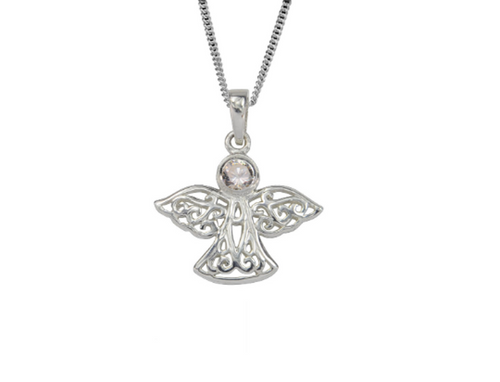 Sterling Silver Celtic Lucky April Angel Birthstone Pendant Necklace
