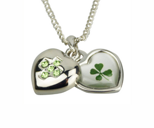 Lucky Real Four Leaf Clover August Birthstone Pendant Necklace