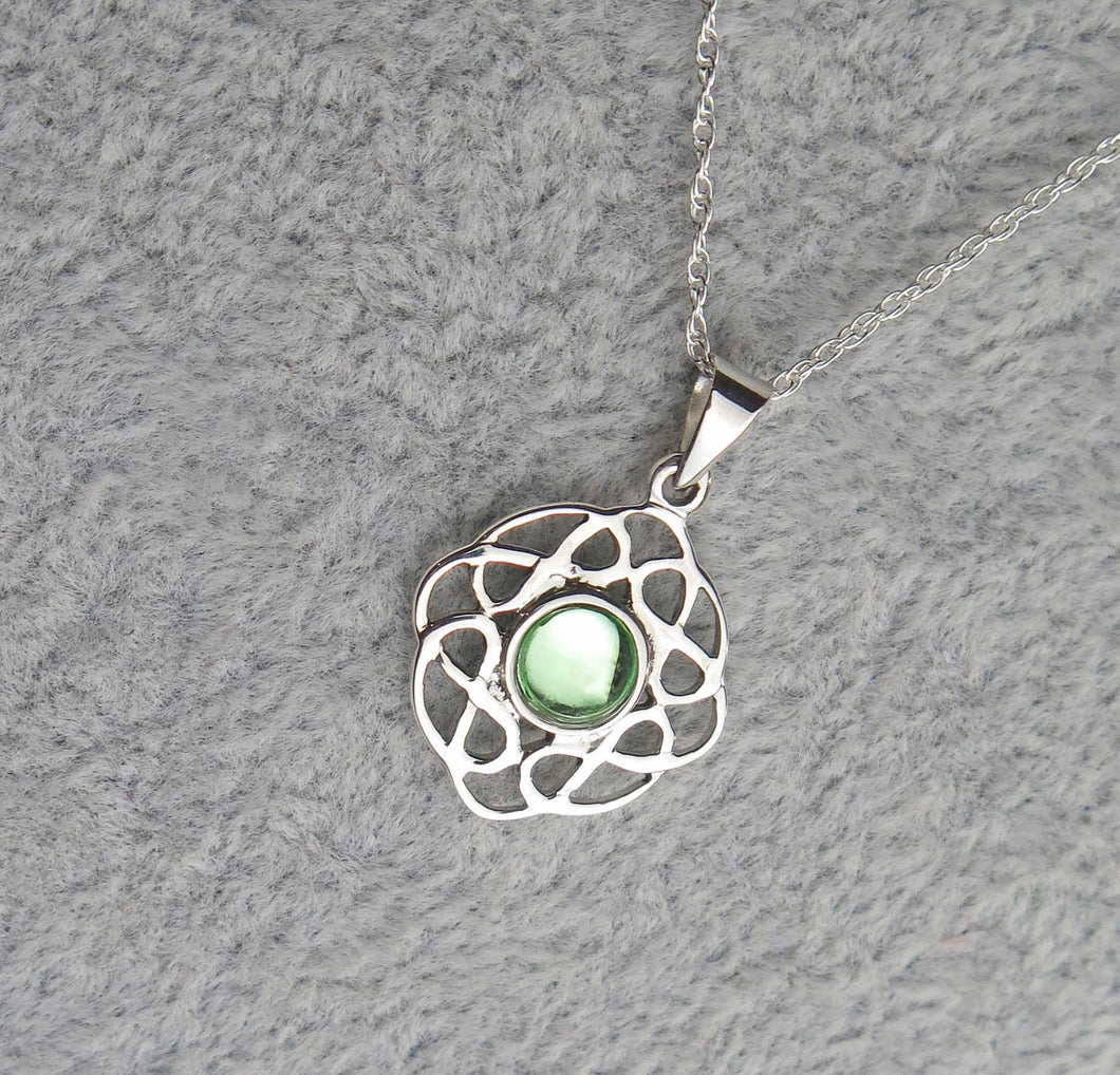 Sterling Silver Celtic Knot August Birthstone Pendant
