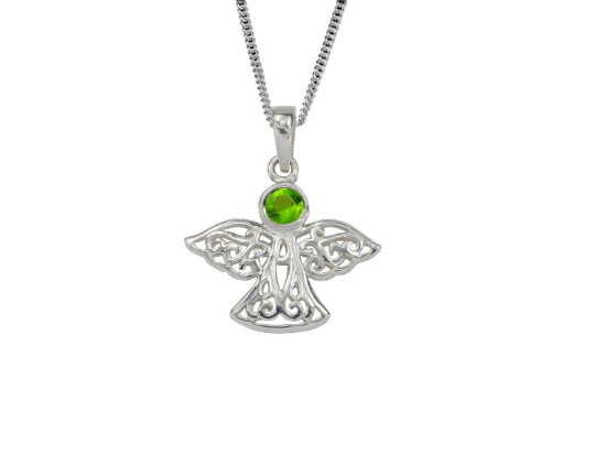 Sterling Silver Celtic Lucky August Angel Birthstone Pendant Necklace