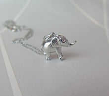 Load image into Gallery viewer, Sterling Silver Lucky Elephant Pendant Necklace