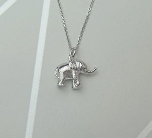 Sterling Silver Lucky Elephant Pendant Necklace