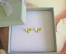 Load image into Gallery viewer, Solid 925 Sterling Silver 24k Gold Plated Bumble Bee Stud Earrings