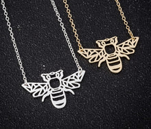 Load image into Gallery viewer, Gold and Silver Plated Lucky Bumble Bee Origami Pendant Necklace