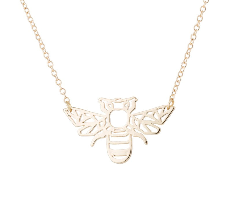 Gold and Silver Plated Lucky Bumble Bee Origami Pendant Necklace