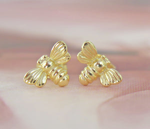 Solid 925 Sterling Silver 24k Gold Plated Bumble Bee Stud Earrings