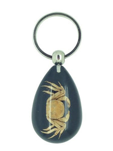 Real Crab Black Keyring Keychain