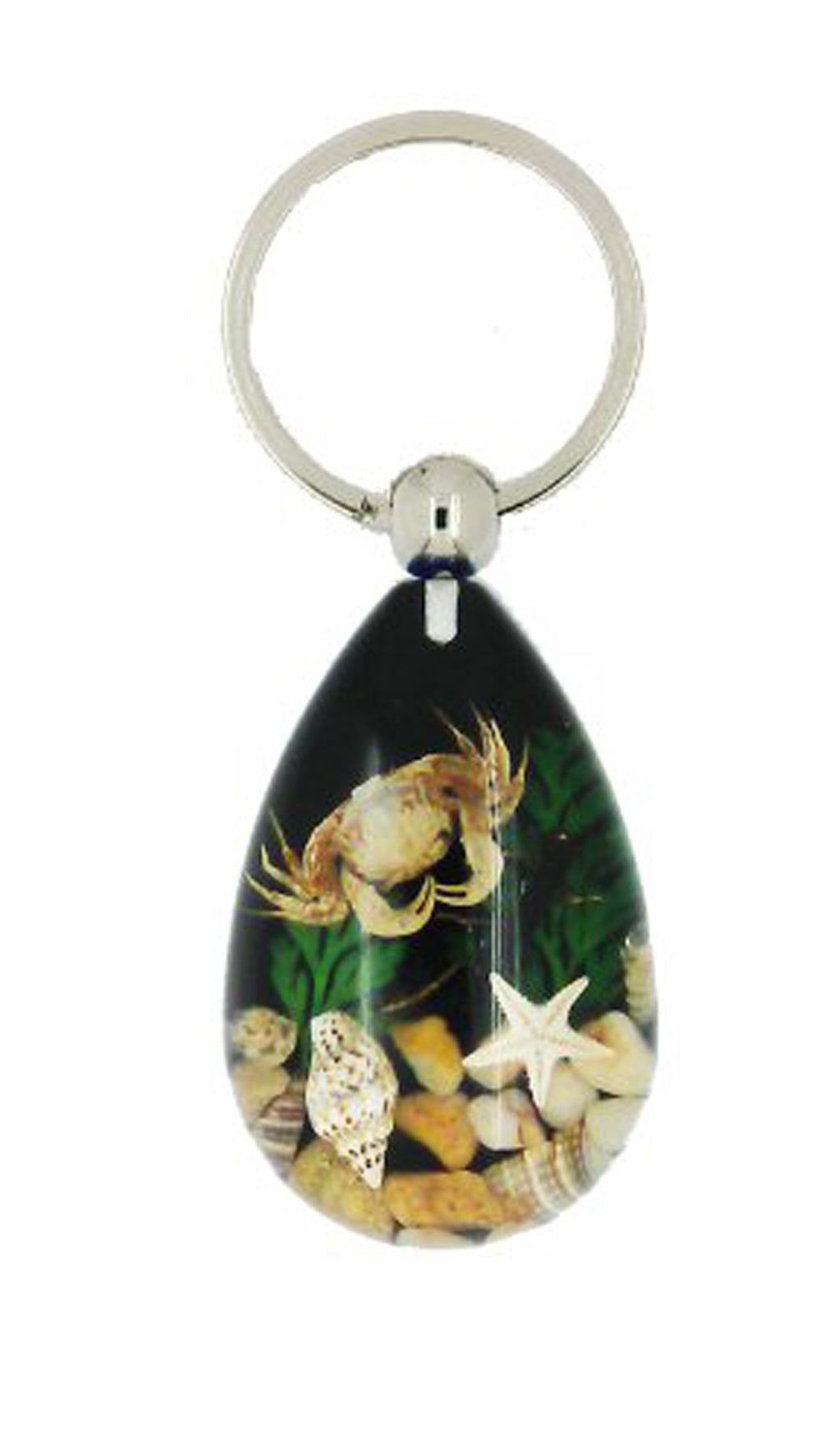 Lucky Real Crab, Starfish and Shells Black Healing Keyring Keychain