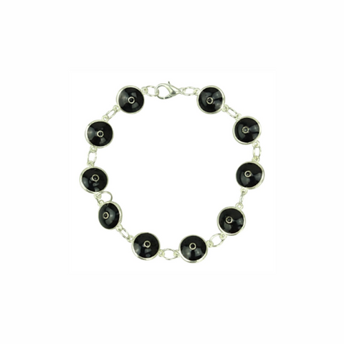 Silver Plated Black Evil Eye Glass Bracelet