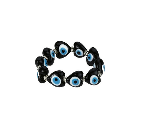 Black Evil Eye Glass Bracelet