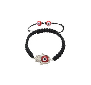 Black & Red Evil Eye Hamsa Hand Bracelet