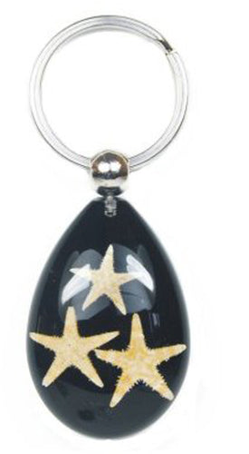 Lucky Real Starfish Black Healing Keyring Keychain