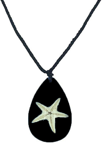 Lucky Real Starfish Black Healing Pendant Necklace