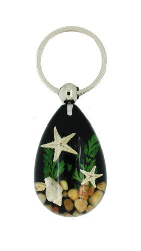 Lucky Real Starfish and Shells Black Healing Keyring Keychain