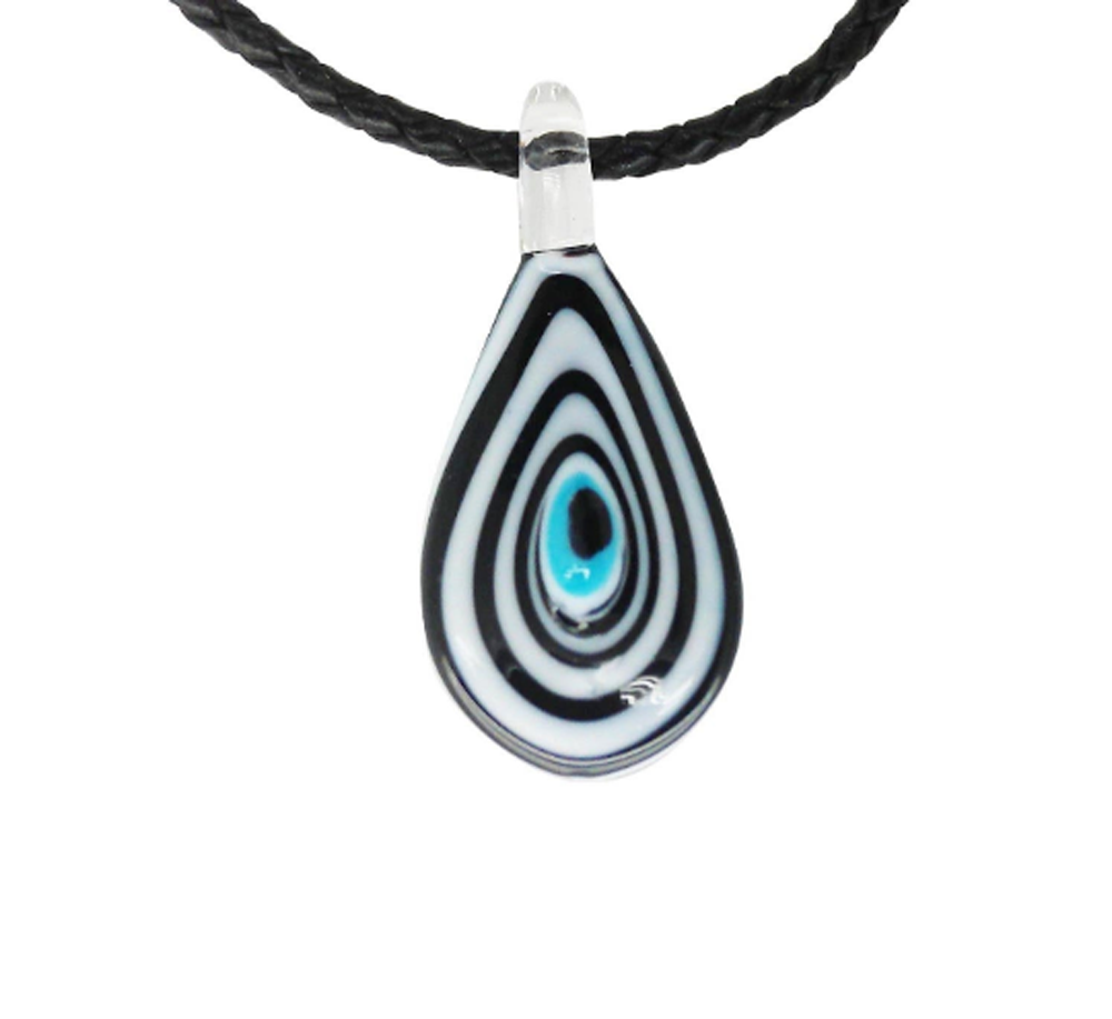 Evil Eye Murano Glass Black & White Pendant Necklace