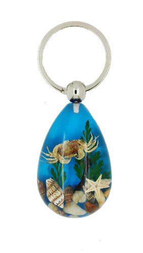 Lucky Real Crab, Starfish and Shells Blue Healing Keyring Keychain