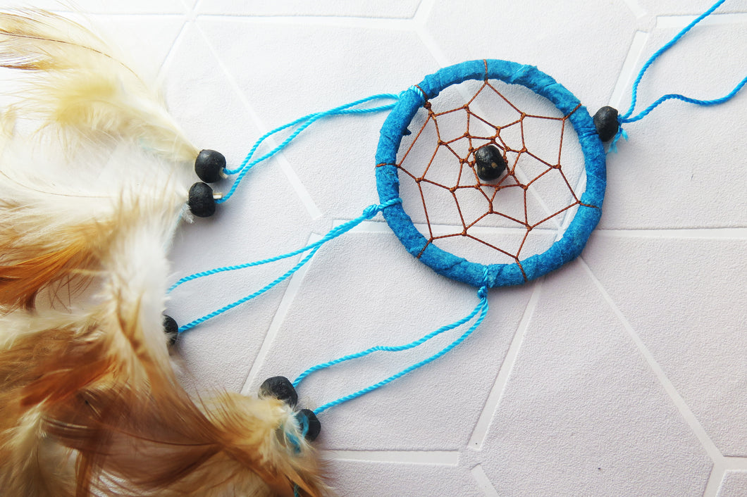 Small Turquoise Blue Native American Dream Catcher